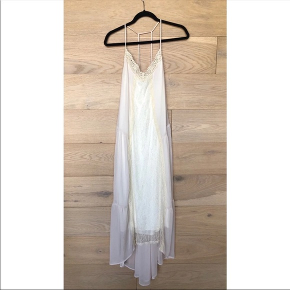 Astr Dresses & Skirts - ASTR Lace Sheer Layered Cream Maxi Dress Medium